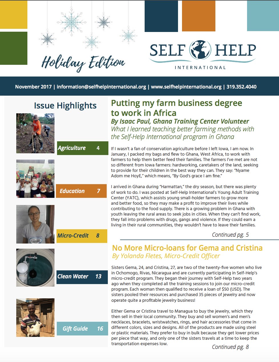 2017 Fall Newsletter: Holiday Edition
